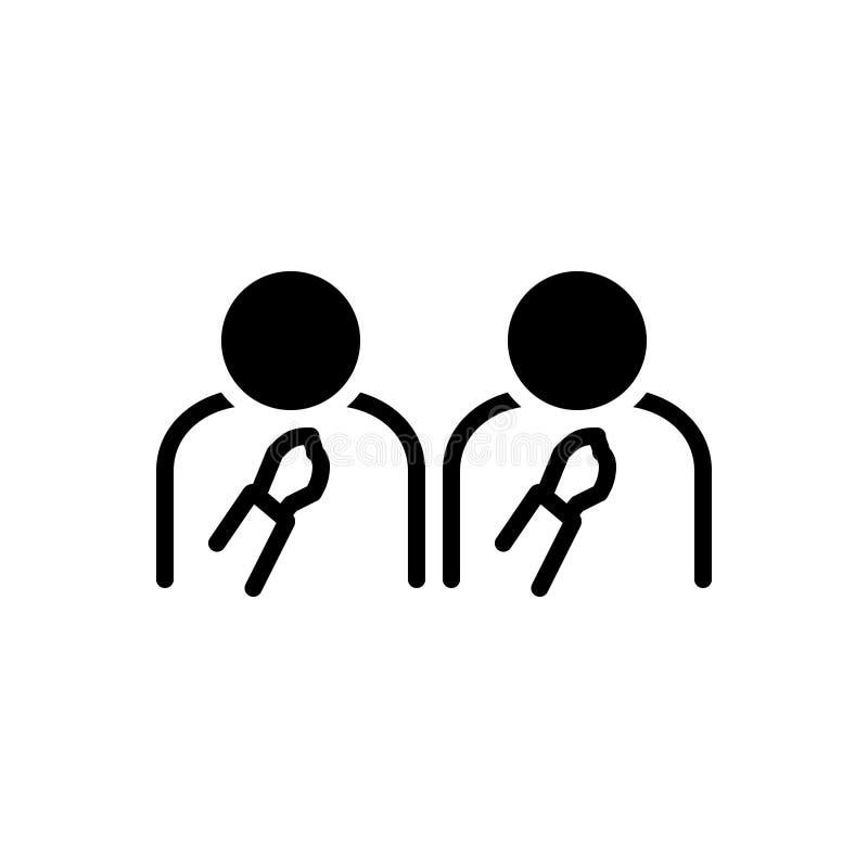 Zwart stevig pictogram voor van ons, zelf en mensen stock illustratie