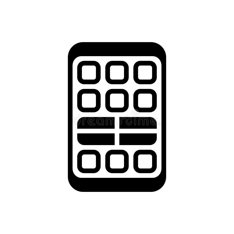 Zwart stevig pictogram voor Ver, technologie en gadget vector illustratie
