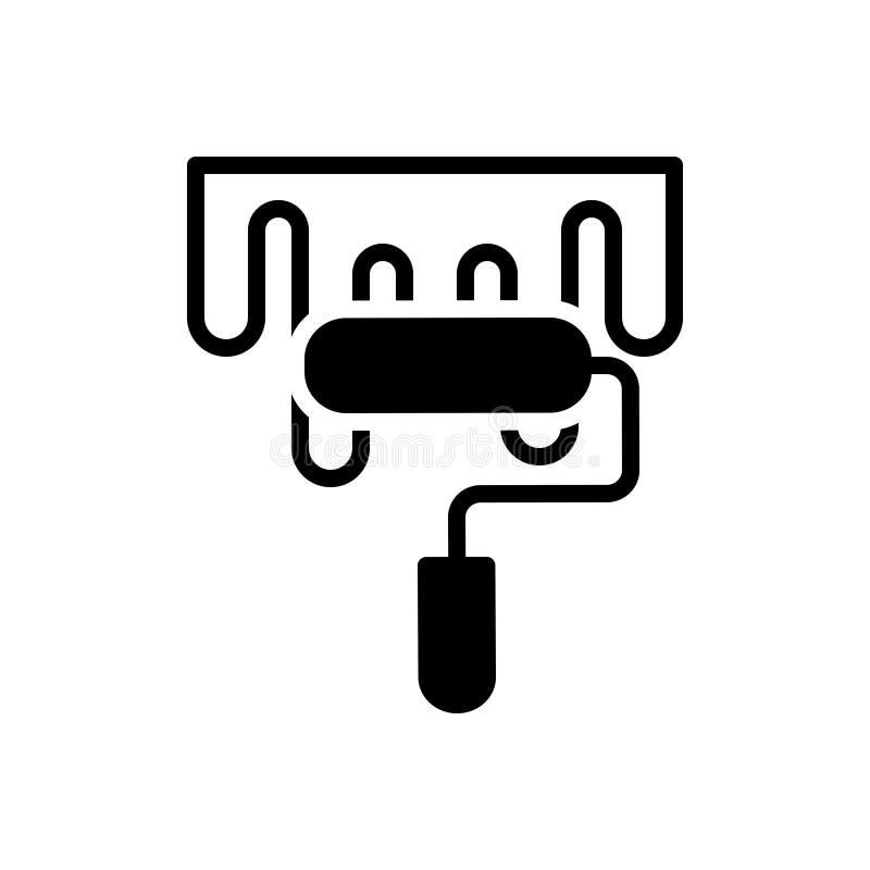Zwart stevig pictogram voor Verf, kleur en pigment vector illustratie