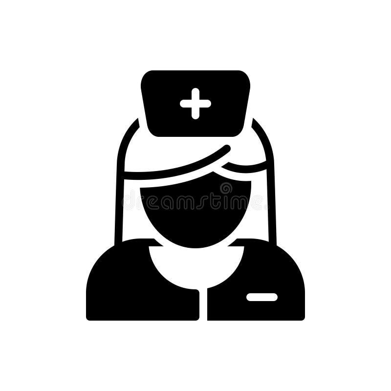 Zwart stevig pictogram voor Verpleegster, zuster en avatar stock illustratie