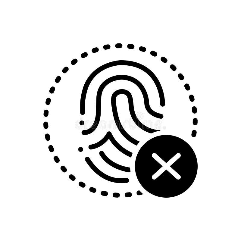 Zwart stevig pictogram voor Vingerafdruk, afstempeling en biometrie royalty-vrije illustratie