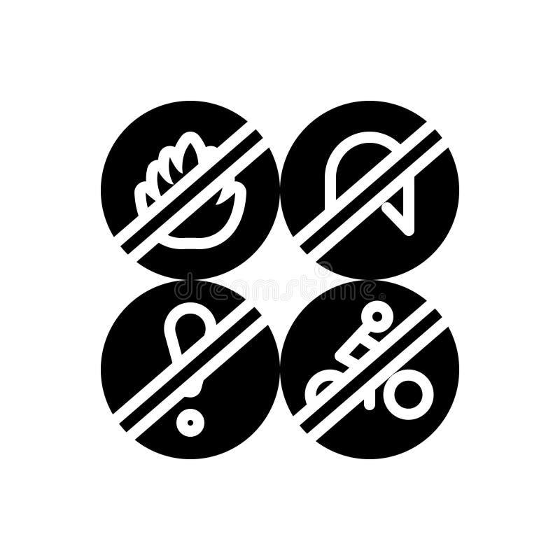 Zwart stevig pictogram voor Pictogram, vlam en verbod stock illustratie