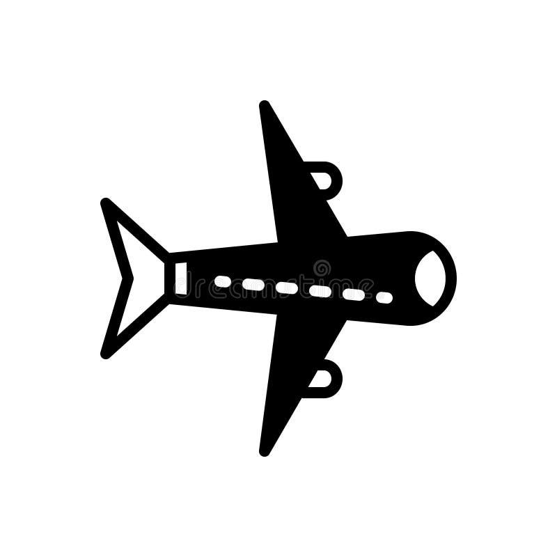 Zwart stevig pictogram voor Vliegtuigen, vliegtuig en vliegtuig vector illustratie