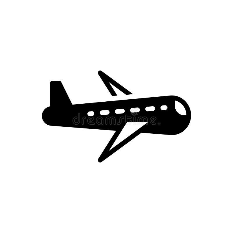 Zwart stevig pictogram voor Vliegtuigen, vliegtuig en vliegtuig royalty-vrije illustratie