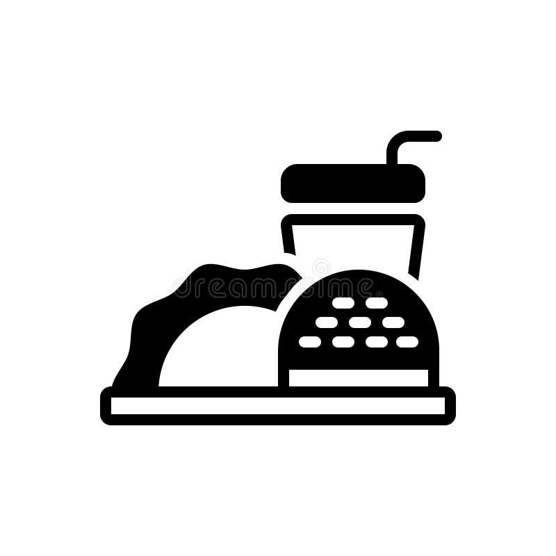 Zwart stevig pictogram voor Voedsel, maaltijd en eetbaar vector illustratie