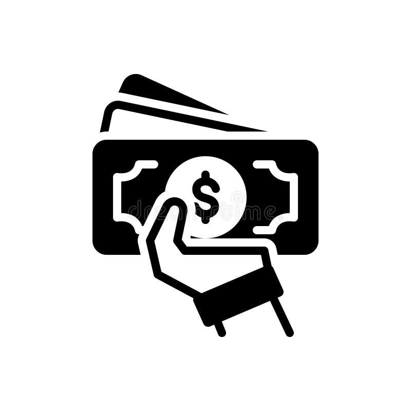 Zwart stevig pictogram voor Voorschotten, gedeelte en schulden royalty-vrije illustratie