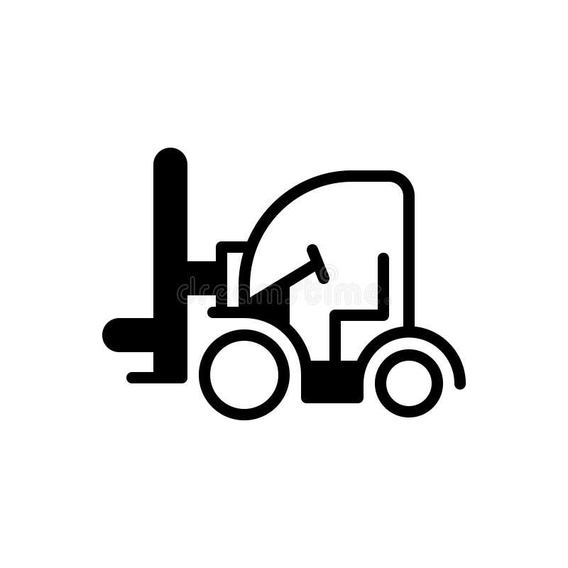 Zwart stevig pictogram voor Vorkheftruck, lading en vrachtwagen royalty-vrije illustratie