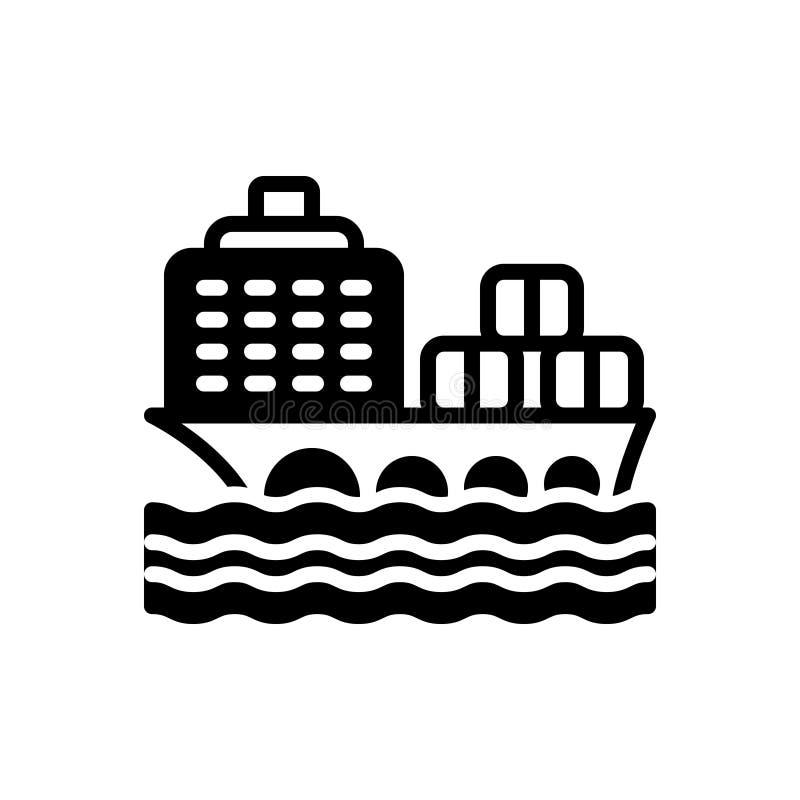 Zwart stevig pictogram voor Vrachtschip, container en vervoer stock illustratie