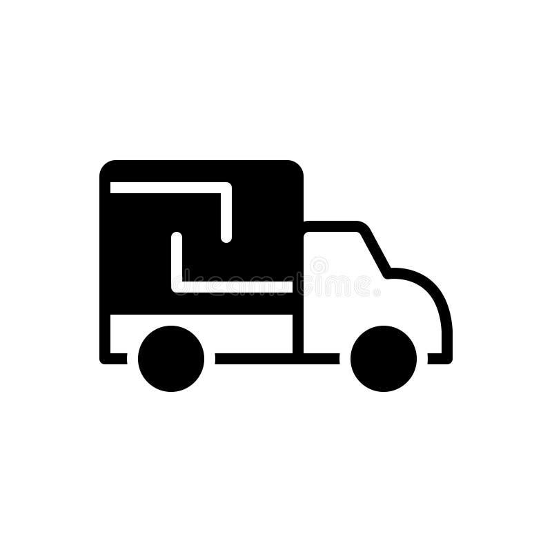Zwart stevig pictogram voor Vrachtwagen, lading en vrachtwagen stock illustratie