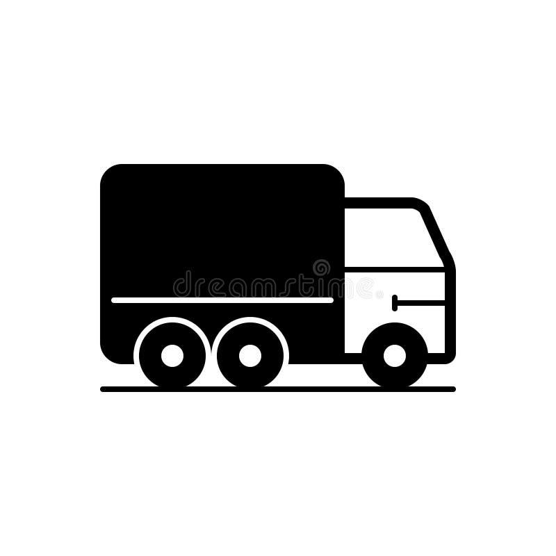 Zwart stevig pictogram voor Vrachtwagen, vervoer en voertuig royalty-vrije illustratie