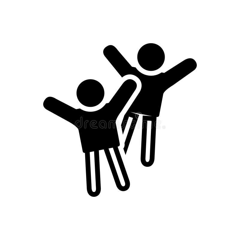 Zwart stevig pictogram voor Vrolijk, gelukkig en peppy vector illustratie