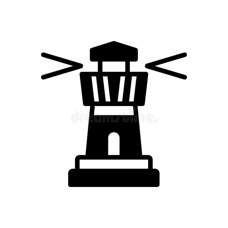 Zwart stevig pictogram voor Vuurtoren, architectuur en toren stock illustratie