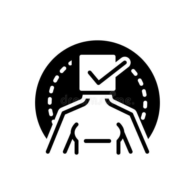 Zwart stevig pictogram voor Waar, echt en correct vector illustratie