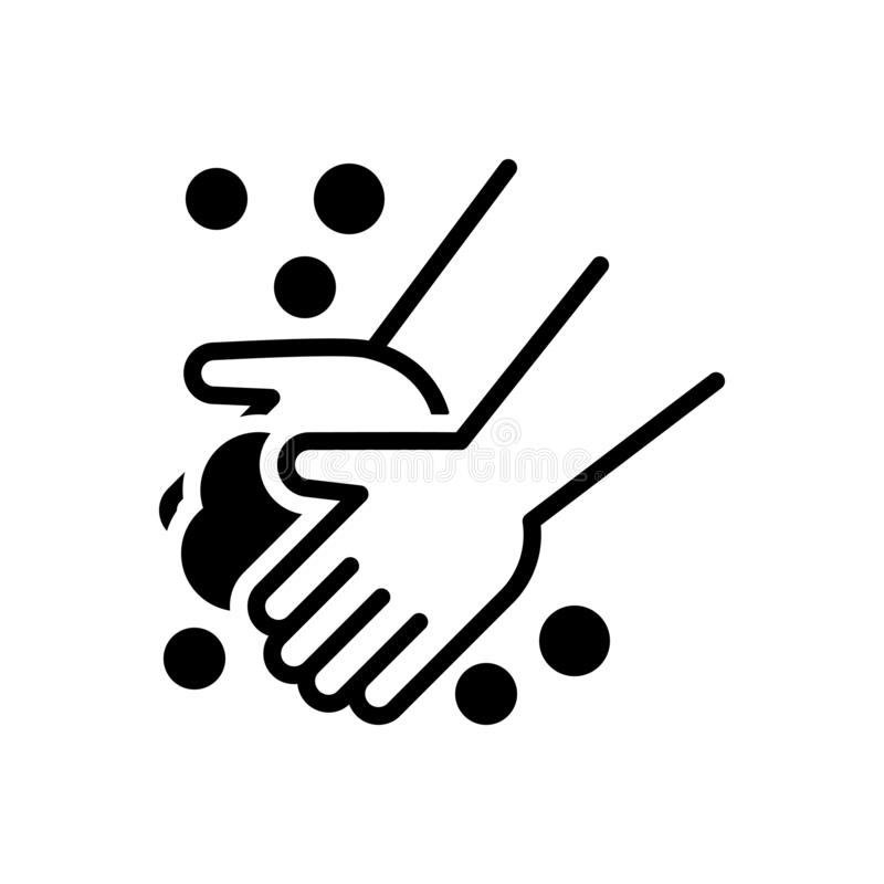 Zwart stevig pictogram voor Washand, hygience en preventie vector illustratie
