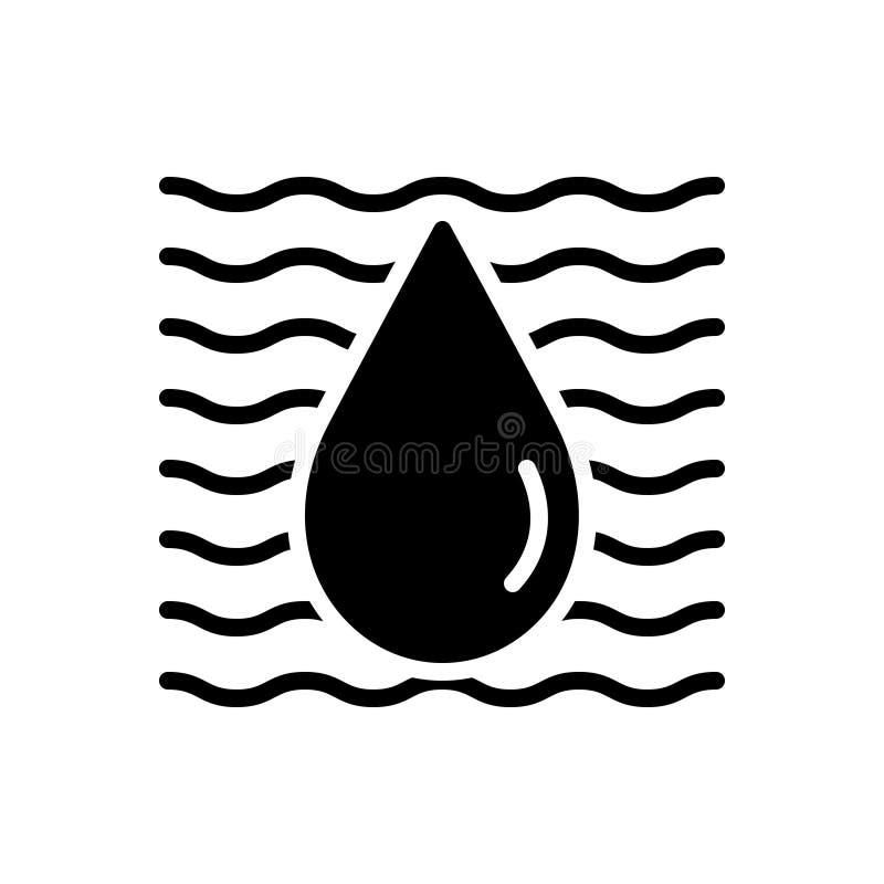 Zwart stevig pictogram voor Water, aqua en riverine vector illustratie