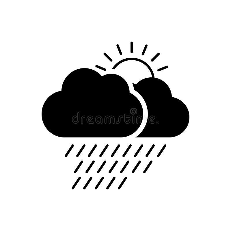 Zwart stevig pictogram voor Weer, regen en wolk royalty-vrije illustratie
