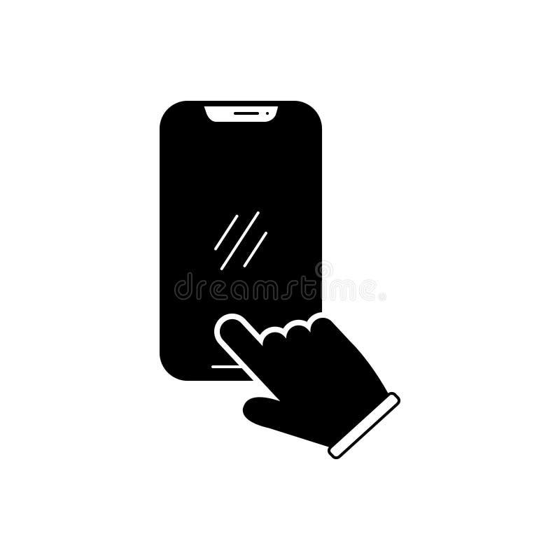 Zwart stevig pictogram voor Wijzerplaatvraag, toetsenbord en technologie royalty-vrije illustratie