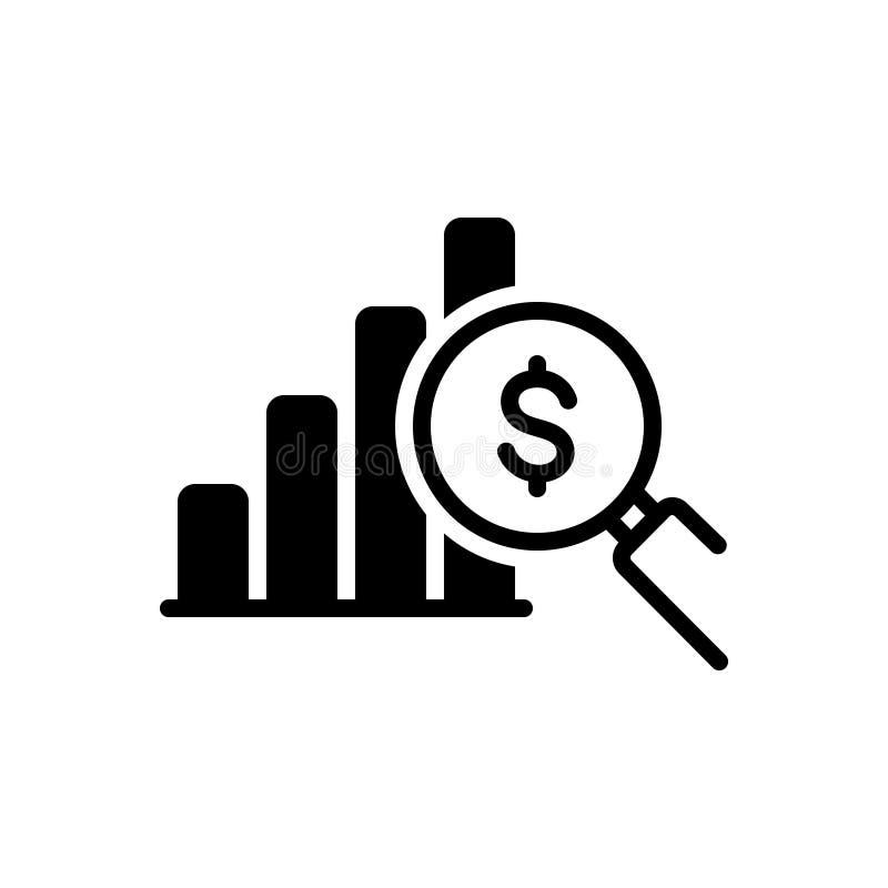 Zwart stevig pictogram voor Winstanalyse, investeerder en gegevens stock illustratie