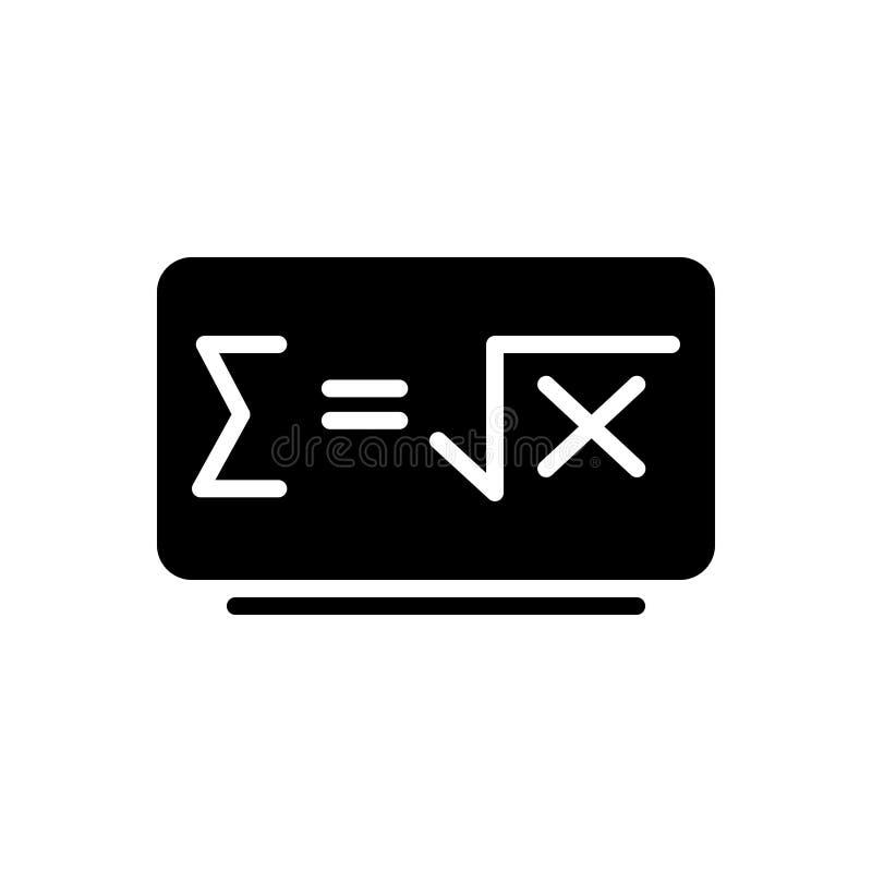 Zwart stevig pictogram voor Wiskundeformule, embleem en onderwijs stock illustratie