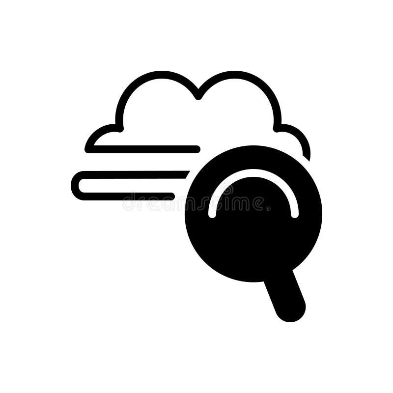 Zwart stevig pictogram voor Wolkenzoeken, raming en optimalisering royalty-vrije illustratie
