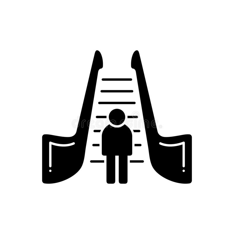 Zwart stevig pictogram voor zich Roltrap, het bewegen en trap vector illustratie