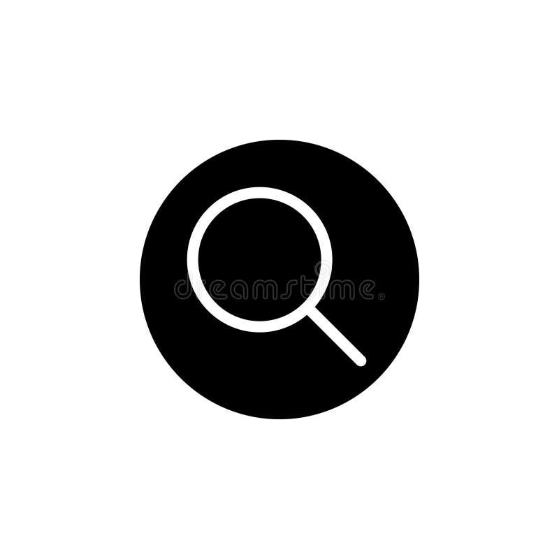 Zwart stevig pictogram voor Zoeken, informatie en glas royalty-vrije illustratie