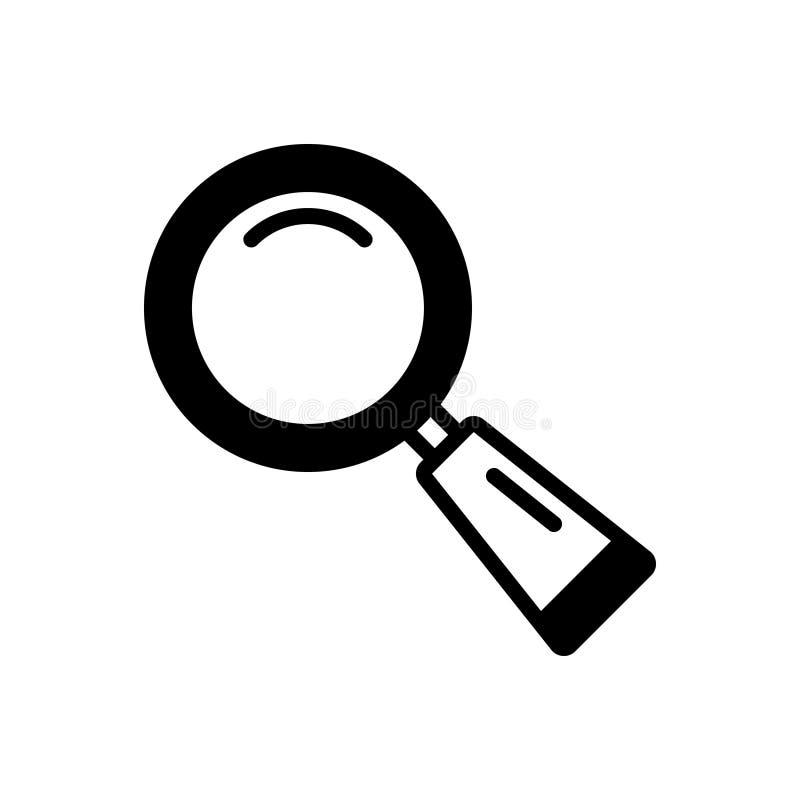 Zwart stevig pictogram voor Zoeken, onderzoek en zoektocht vector illustratie