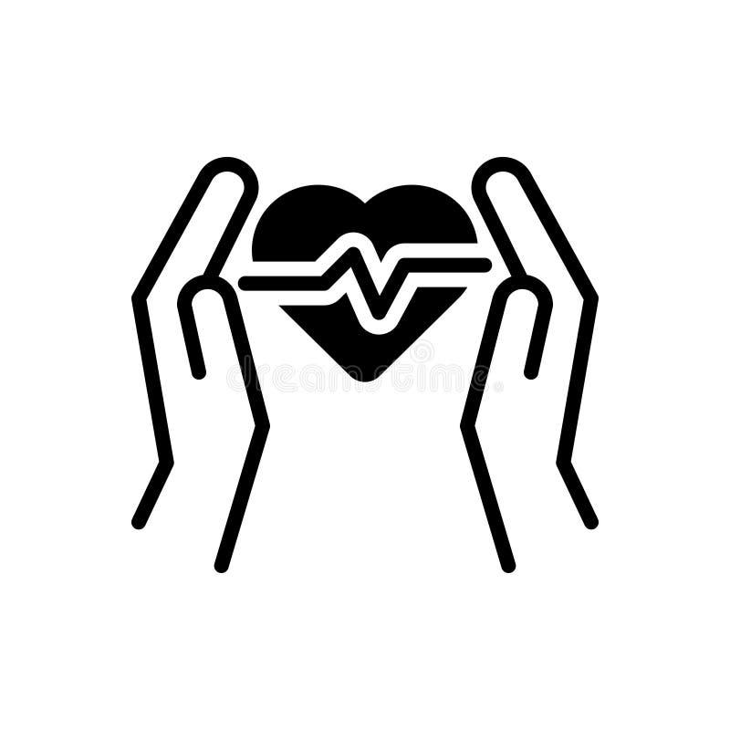 Zwart stevig pictogram voor Zorg, hart en bescherming stock illustratie