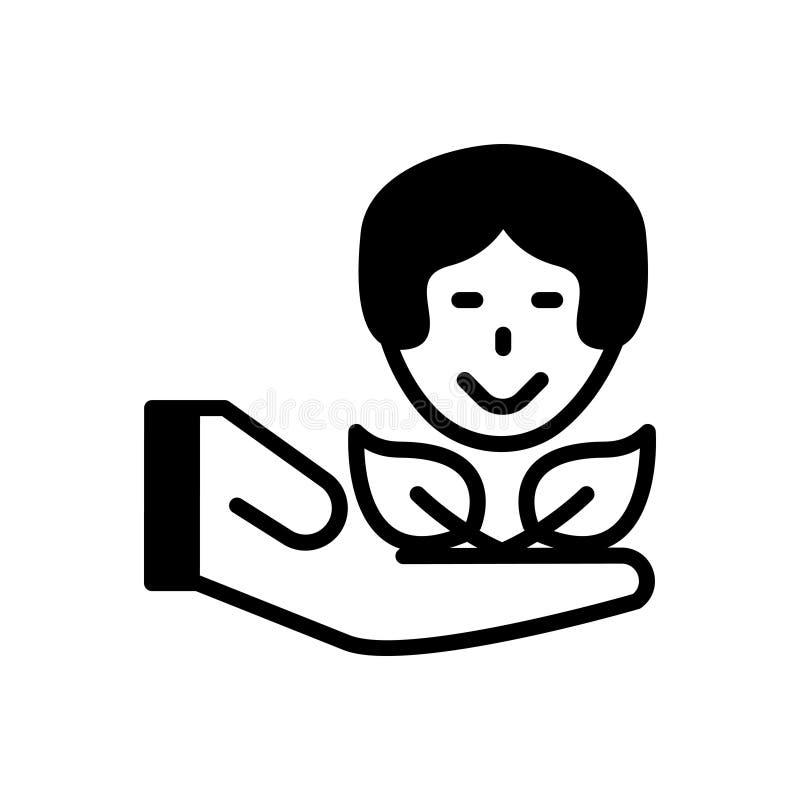Zwart stevig pictogram voor Zorg, zorgvuldig en aandacht stock illustratie