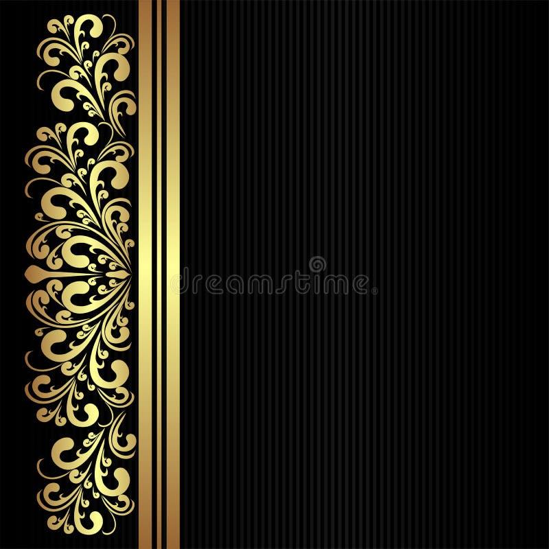 Zwart stoffenpatroon met gouden bloemengrens stock illustratie
