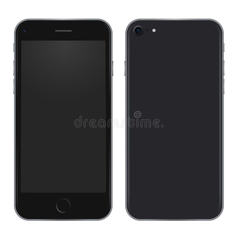 Zwart telefoonconcept van voorkant en achtermening vector realistische illustratie vector illustratie