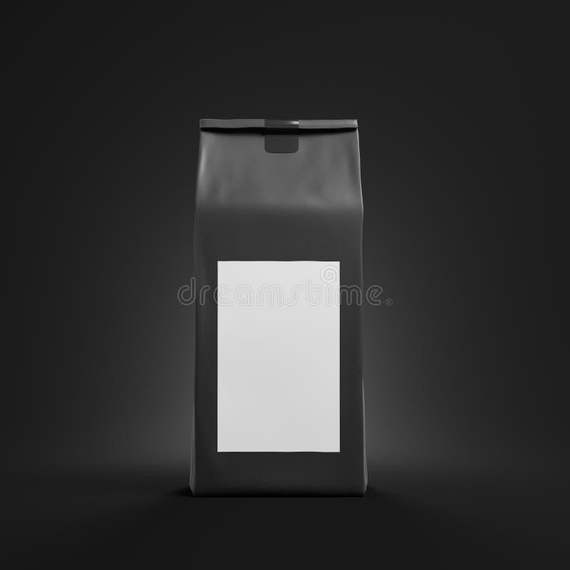Zwart thee of koffiezakpakket met omhoog spot royalty-vrije illustratie