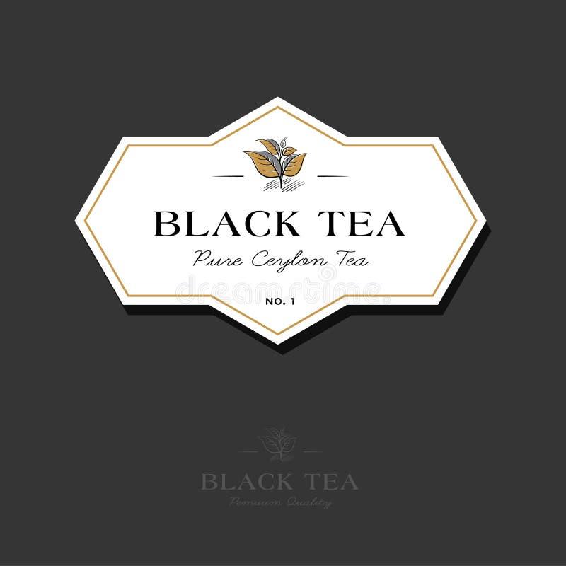 Zwart theeembleem Etiket voor elitethee De bladeren en de brieven in een klassieke stijl op een wit geometrisch etiket stock illustratie