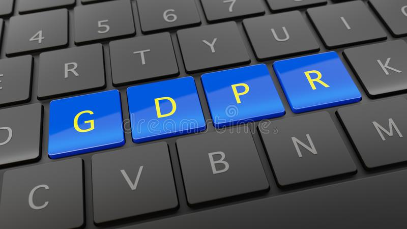 Zwart toetsenbord met blauwe en gele GDPR-sleutels royalty-vrije illustratie