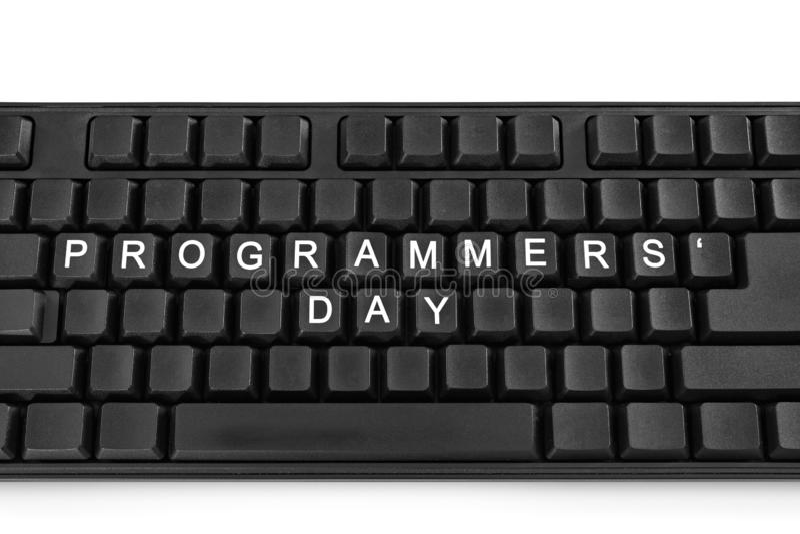 Zwart toetsenbord op witte lichte achtergrond De inschrijving op de knopen - de Dag van de Programmeur stock foto's