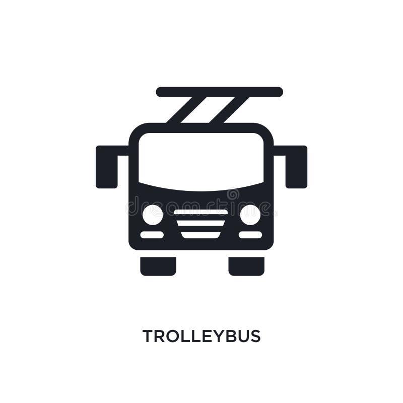zwart trolleybus geïsoleerd vectorpictogram eenvoudige elementenillustratie van de vectorpictogrammen van het vervoersconcept edi royalty-vrije illustratie