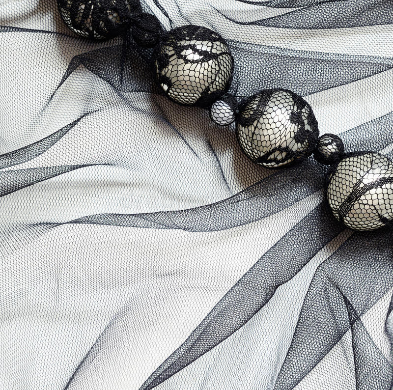 Zwart Tulle met parels royalty-vrije stock foto's