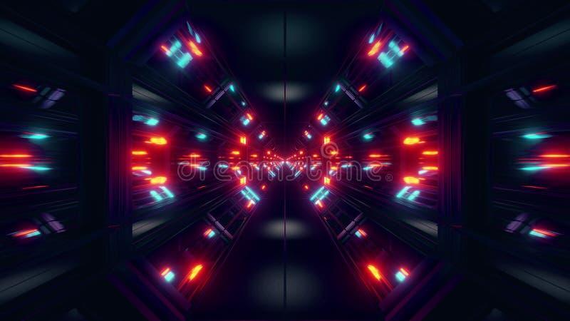 Zwart van de scifi ruimtetunnel behang als achtergrond met het aardige gloed 3d teruggeven vector illustratie