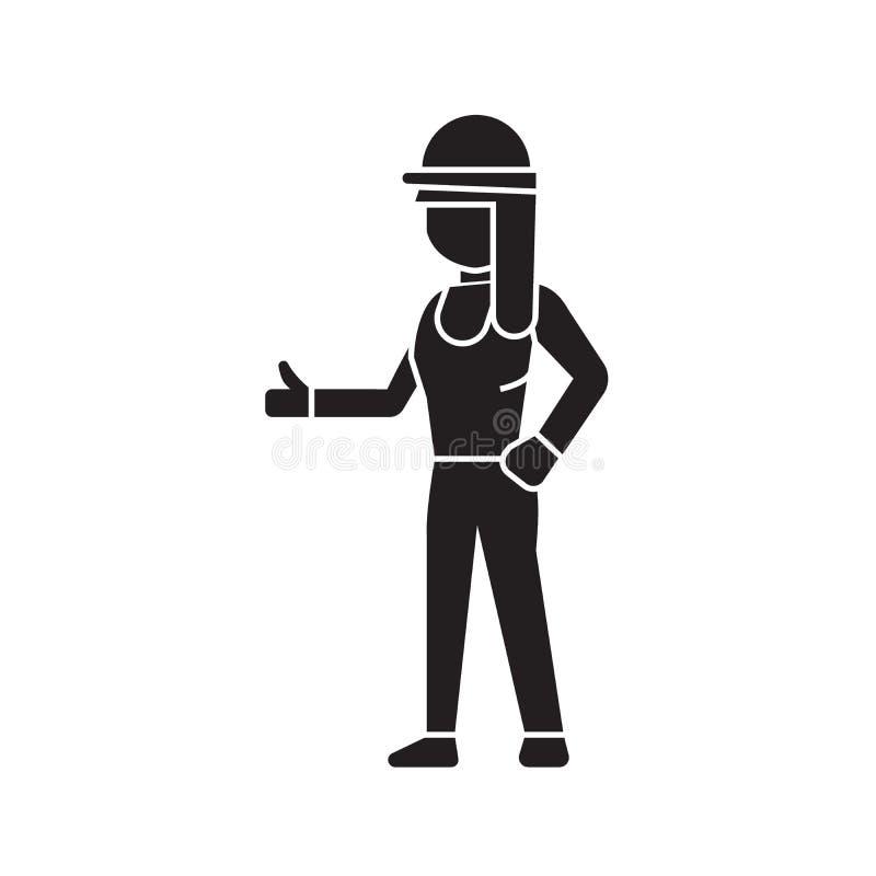 Zwart vector het conceptenpictogram van de bouwersvrouw De vlakke illustratie van de bouwersvrouw, teken stock illustratie