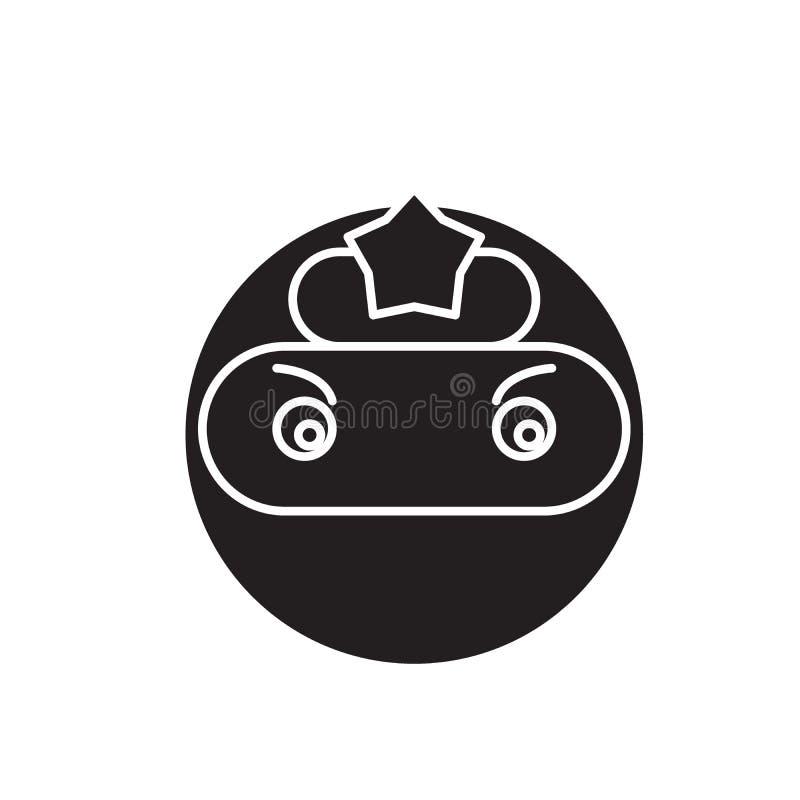Zwart vector het conceptenpictogram van Ninjaemoji De vlakke illustratie van Ninjaemoji, teken royalty-vrije illustratie