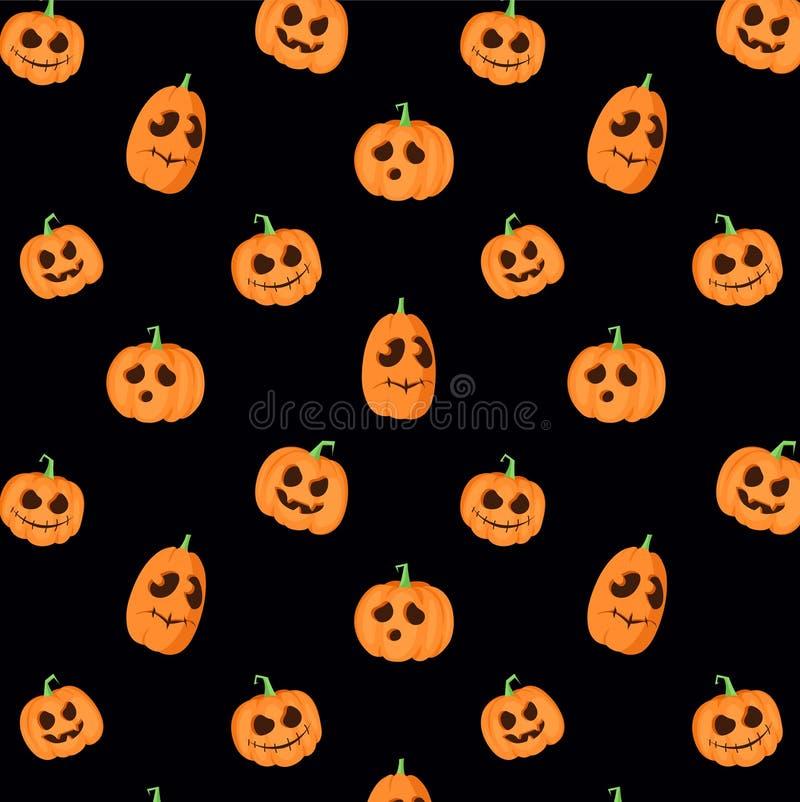 Zwart vectorpatroon met pompoenen stock illustratie