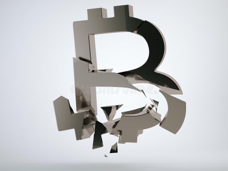 Zwart verbrijzeld en gebroken bitcoinsymbool vector illustratie