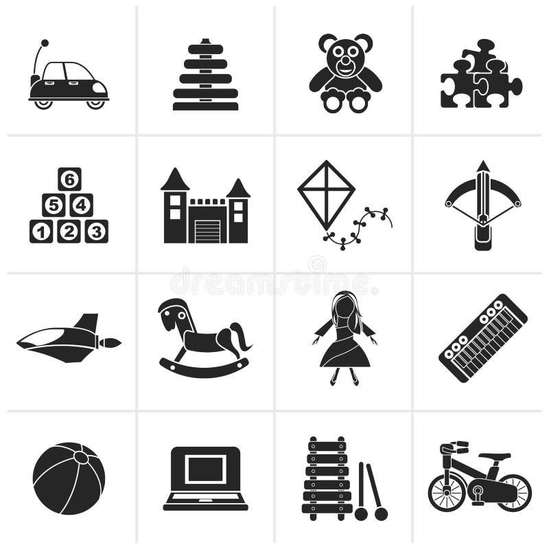 Zwart verschillend soort speelgoedpictogrammen royalty-vrije illustratie