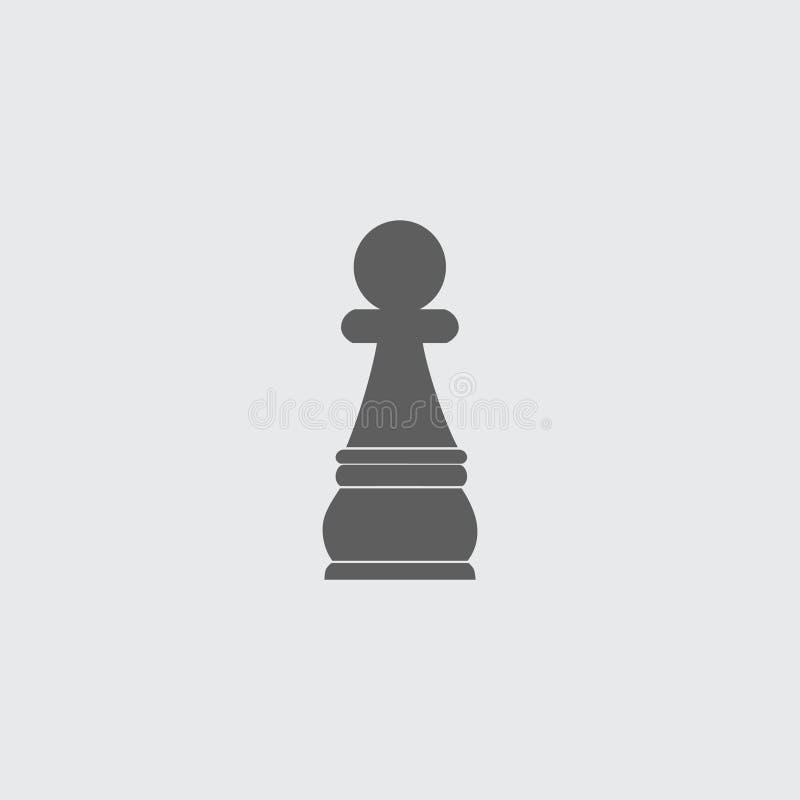 Zwart vlak het pand vectorpictogram van het schaakcijfer royalty-vrije illustratie