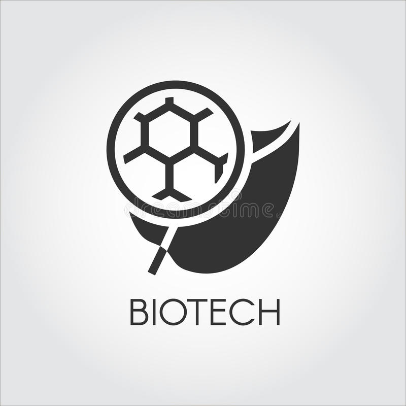 Zwart vlak pictogram van blad en molecule die modern Biotech symboliseren Eenvoudetiket van biotechnologieconcept Van de de cirke vector illustratie