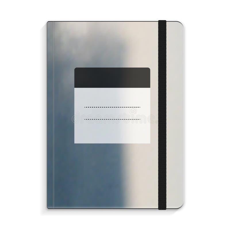 Zwart voorbeeldenboek met de illustratie van de elastiekjereferentie royalty-vrije stock foto