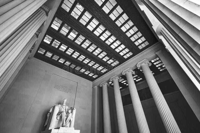 Zwart Wit Abraham Lincoln Statue Memorial Washington gelijkstroom stock foto