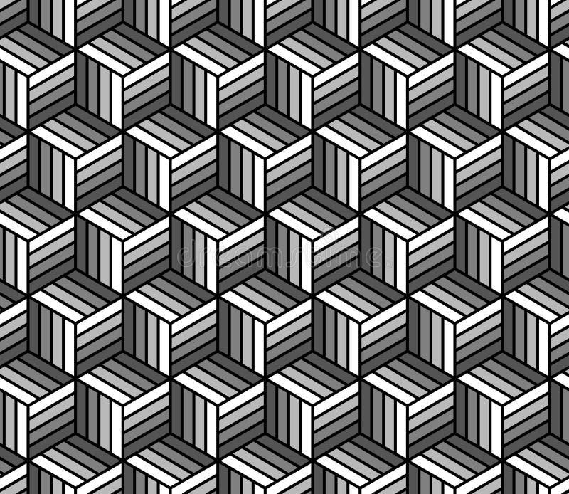 Zwart-wit abstract gestreept kubussen geometrisch naadloos patroon, vector vector illustratie