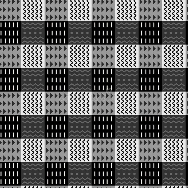 Zwart-wit abstract stammen geruit naadloos patroon, etnische stijl, modieuze achtergrond Vector sier stock illustratie