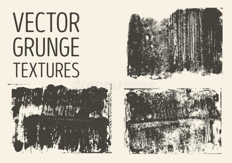 Zwart-wit abstracte vectorgrungetexturen Reeks hand getrokken borstelslagen en vlekken vector illustratie